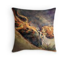 Little Elf with Dragon Throw Pillow
