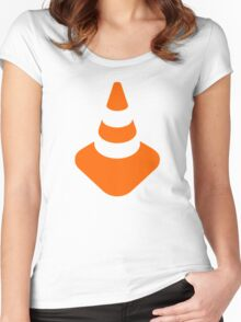Traffic cone safety pylon Whitch hat marker Women's Fitted Scoop T-Shirt