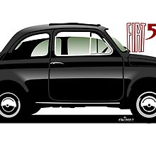 Classic Fiat 500F black by car2oonz