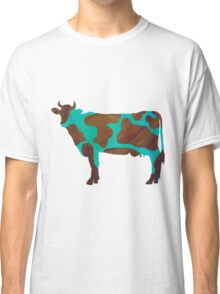 Cow Brown and Teal Print Classic T-Shirt