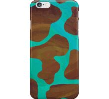 Cow Brown and Teal Print iPhone Case/Skin