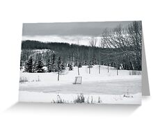 Black and White Pond Hockey Greeting Card