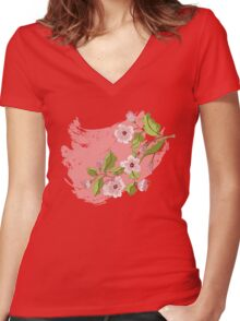 Colored Sketch of Sakura Branch 3 Women's Fitted V-Neck T-Shirt