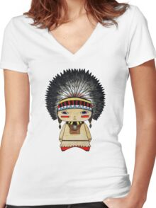 A Boy - Native American Women's Fitted V-Neck T-Shirt