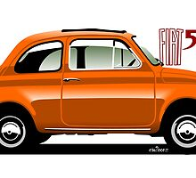 Classic Fiat 500F orange by car2oonz