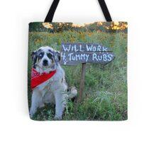 Tummy Rub Dog (Australian Shepherd) Tote Bag