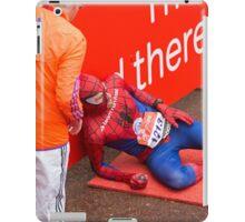 Spiderman collapses at the finish line of the Virgin money London Marathon iPad Case/Skin