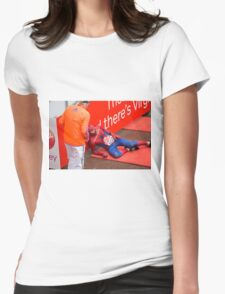 Spiderman collapses at the finish line of the Virgin money London Marathon Womens Fitted T-Shirt