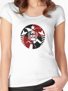 Quinn Coffee (Black+Red) Women's Fitted Scoop T-Shirt