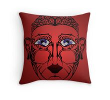 Red Face Throw Pillow