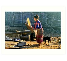 Winnowing rice Art Print