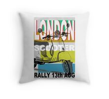 London Scooter Rally Throw Pillow
