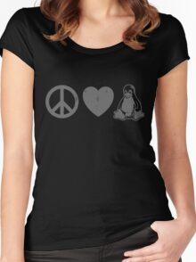 Peace Love And Linux Women's Fitted Scoop T-Shirt