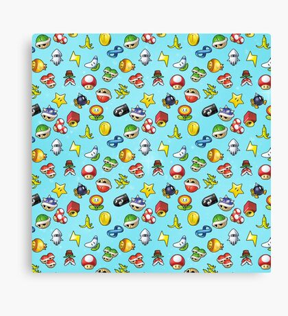 Mario Kart 8 Items Pattern Canvas Print