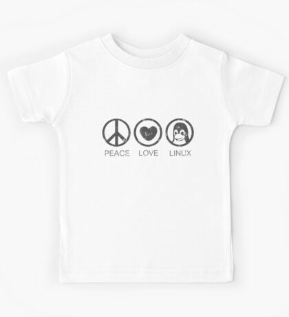 Peace Love And Linux Kids Tee