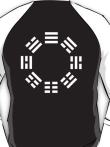 I Ching, symbol, Book of Changes, WHITE on Black T-Shirt