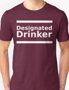 Designated Drinker - White Lettering, Funny T-Shirt