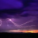 Sunrise Lightning, Yarra Valley, Victoria. by Ern Mainka
