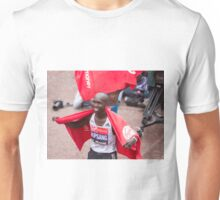 Eliud Kipchoge (KEN) at the finish line at the Virgin money London Marathon Unisex T-Shirt
