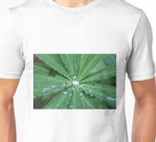Water drops on a leaf.  Unisex T-Shirt