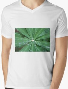 Water drops on a leaf.  Mens V-Neck T-Shirt