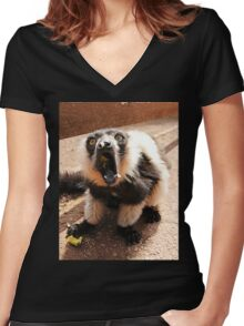 The Scream-lemur style Women's Fitted V-Neck T-Shirt