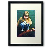 Little Girl With Marigolds Framed Print
