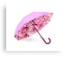 Pink umbrella with roses Canvas Print