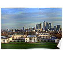 Greenwich Royal Naval Museum and Canary Wharf Poster
