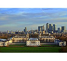 Greenwich Royal Naval Museum and Canary Wharf Photographic Print