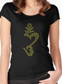 Jeweled Hum (Hung) Symbol Women's Fitted Scoop T-Shirt