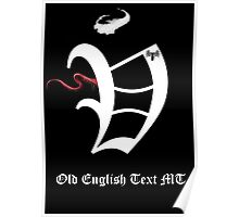 Old English Text Font Iconic  Charactography - V Poster