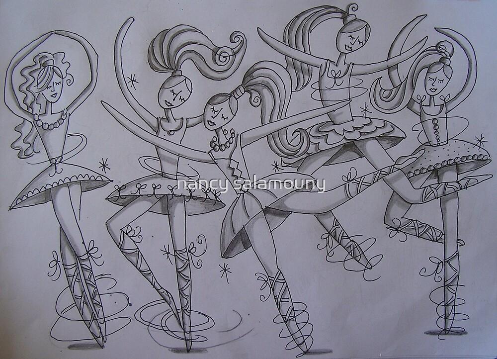 Dancing Ballerinas by nancy salamouny