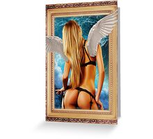 Hot girl with wings in a frame blonde Greeting Card