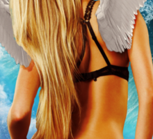 Hot girl with wings in a frame blonde Sticker