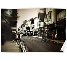 Vintage London Street With Bicycles Poster