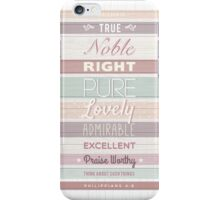 Wood effect, Strippy, Bright, Colourful, Happy Bible Verse. iPhone Case/Skin