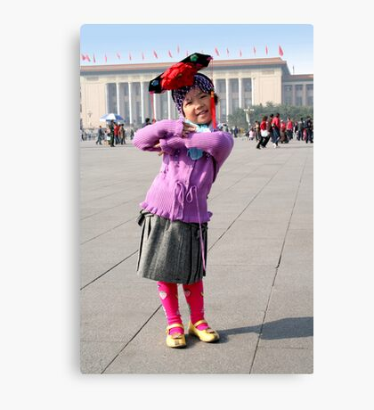 Young Chinese Girl on Tiananmen Square Canvas Print
