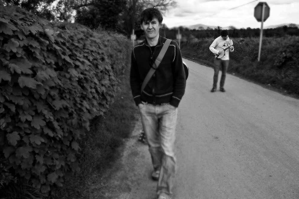 Martin & Mossy Dawg on the Road to the Pub by Philip  Rogan