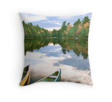 Canoeing the Sky River Throw Pillow