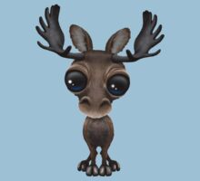 Cute Curious Baby Moose Calf with Big Eyes on Blue Kids Clothes