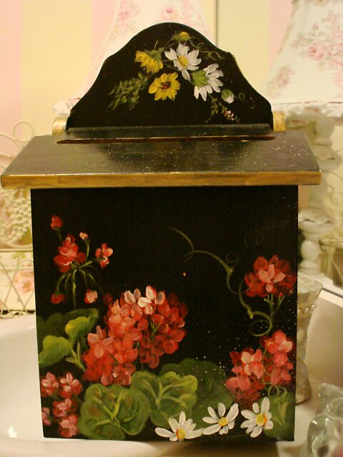 Geraniums On Black Mail Box by Cathy Amendola