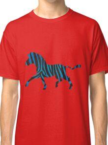 Zebra Black and Blue Print Classic T-Shirt