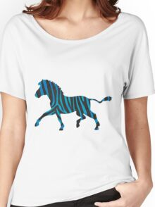 Zebra Black and Blue Print Women's Relaxed Fit T-Shirt