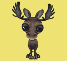 Cute Curious Baby Moose Calf with Big Eyes on Yellow Kids Clothes