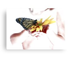 Butterfly in Hand Canvas Print