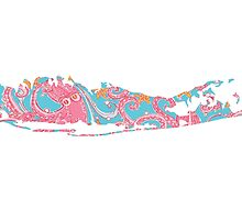 Long Island Outline Paisley Pattern  by Christy Fox