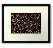 Medieval Flowers on Black Framed Print