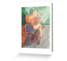 Nude Biker Dude Greeting Card