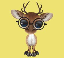 Cute Curious Nerdy Baby Deer Wearing Glasses on Yellow Kids Clothes
